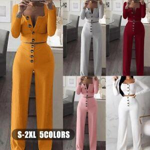 Women-2pcs-Suit-Knit-Long-Sleeves-Crop-Tops-Casual-Pants-Set-Jumpsuits-Outfits