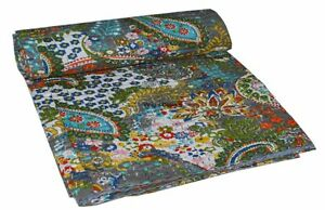 Indian Queen Paisley Kantha Bedspread Quilts Blanket Throw Bedding Handmade Art