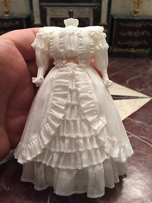 Dollhouse Miniatures ~ Exquisite 1910 White Wedding Dress w/ Pink Ribbon Replica