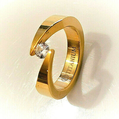 Stainless Steel Gold Color Tension-Set Engagement Bypass Ring with Clear CZ