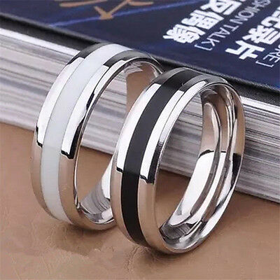 Fashion Jewelry Black Titanium Band Stainless Steel Ring For Men Women Size 6-10