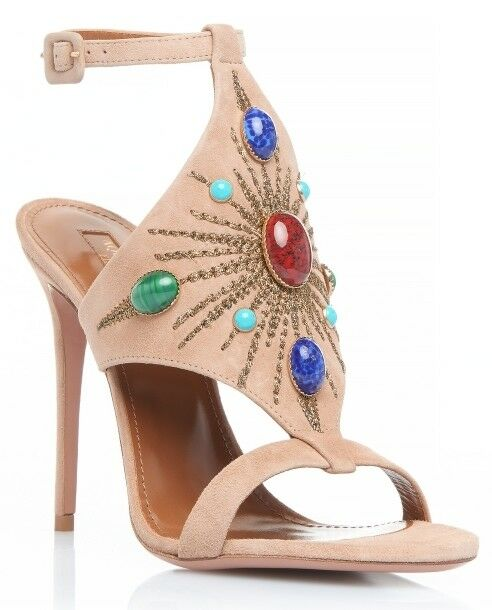 895 Authentic Aquazzura Firenze Desert Sun heels biscotto NIB Größe 37 ½   7.5 B