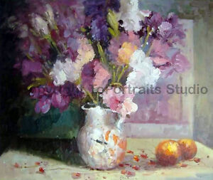 Purple-amp-White-Flowers-Original-Still-Life-Oil-Painting-on-Canvas-36-034-x-30-034