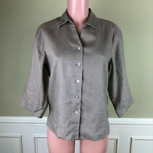 5739e11943a3b Orvis Womens Top Blouse Brown 100% Linen 3 4 Sleeve Button Front Sz ...