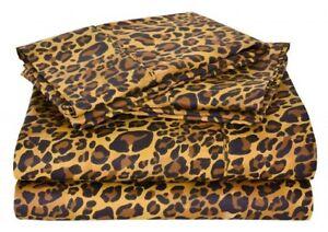 Branded-1Flat-Sheet-amp-2-Pillowcase-Leopard-Print-1000Thread-Count-100-Cotton