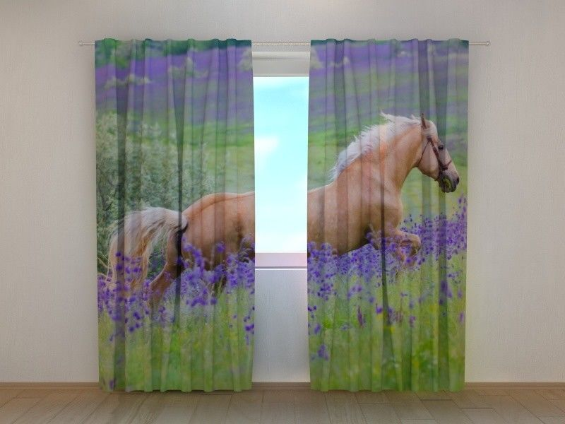 Curtain Palomino Horse on the Flowers Field Wellmira Printed Ready to Hang 3D