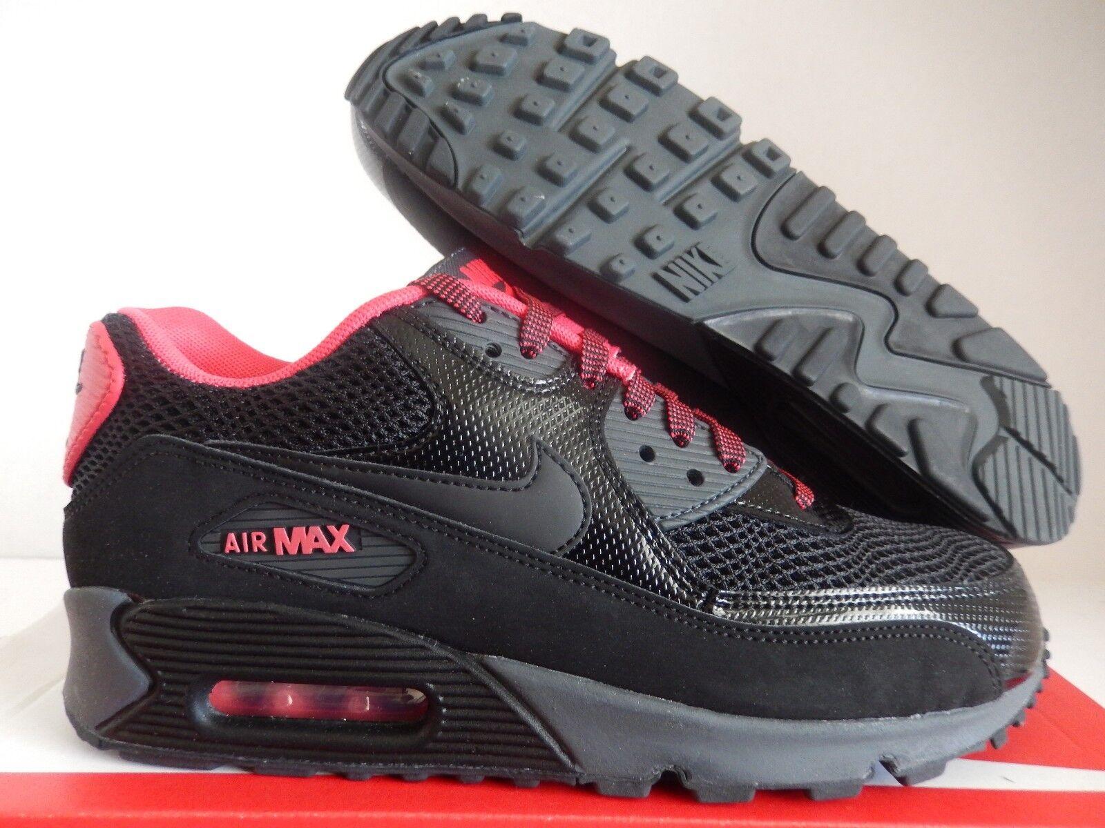 WMNS NIKE AIR MAX 90 BLACK-BLACK-FUSION RED-ANTHRACITE SZ 7.5 [325213-026]