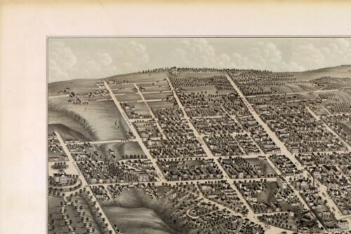 1878 AUGUSTA panoramic MAINE map KENNEBEC county ME 27