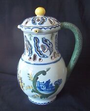 "19th Century Dutch Delft Puzzle Jug Baluster Form w Polychrome Dec / ""N"" Mark"