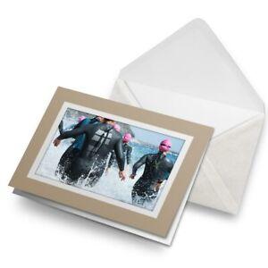 Greetings-Card-Biege-Triathlon-Swimmers-Swimming-Sea-Swim-24326