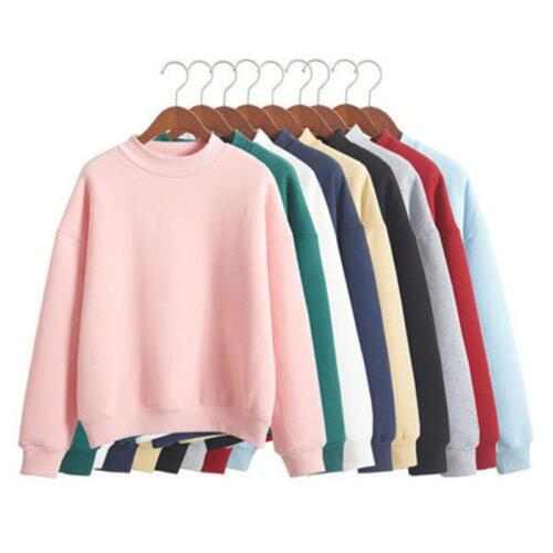 Femmes Manches Longues à Capuche Sweat-shirt Manteau Casual Pullover Tops Solide