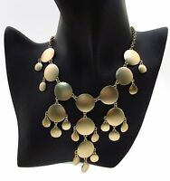 Long Necklace Gold Tone Round Discs Sm & Lge Discs Matching Earrings