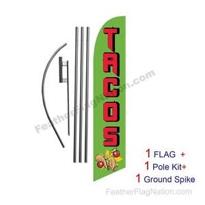 Four Full Sleeve Swooper Flags w// Poles /& Spikes AUTO TINTING Black Silver w Yellow Text