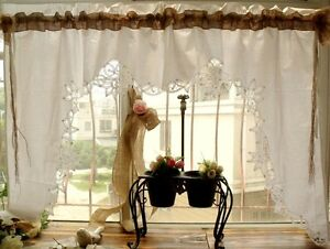 Sets Shabby Country Chic Burlap Lace Swag Curtain Valance