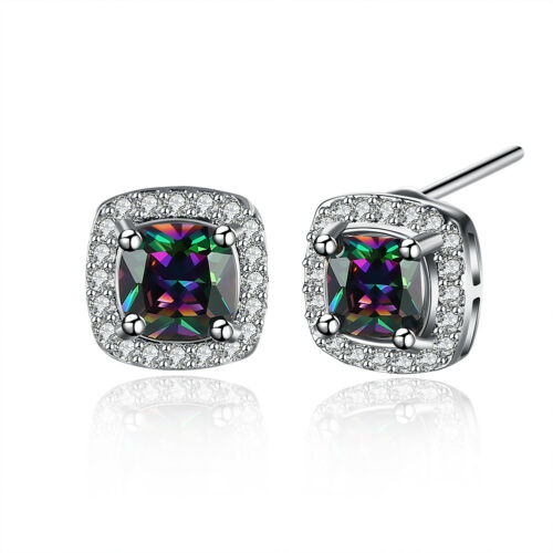 Classic 18k 18ct White Gold Filled GF Square Stud Earrings E-A743 Gift Woman