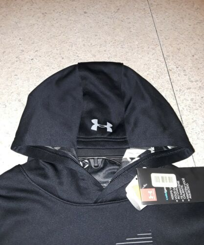 NWT UNDER ARMOUR BOYS BLACK WHITE PULLOVER HOODIE HOODY