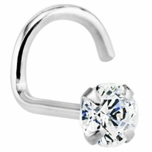 """14K Solid White Gold 1.5mm Clear Round Cut CZ 22ga 1//4/"""" Nose Screw Made in USA"""