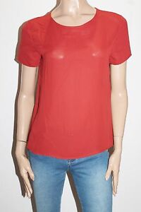 FOREVER-21-Brand-Rust-Chiffon-Short-Sleeve-Blouse-Top-Size-L-BNWT-SD05