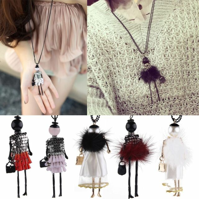 Fashion Women Crystal fur Doll Long Chain Pendant Necklace Jewelry Gift New