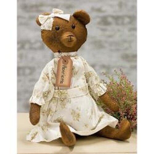 "Antique Style HENRIETTA BEAR DOLL Fabric Dress Aged 16/"" Vintage Look Primitive"