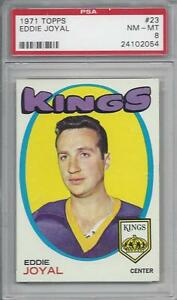 1971-Topps-NHL-hockey-card-23-Eddie-Joyal-Los-Angeles-Kings-graded-PSA-8-NMMT