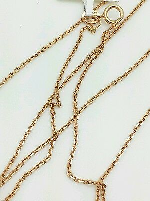 """14k Solid White Gold High Polish Cable Link Pendant Necklace Chain 16/"""" 1.1mm"""