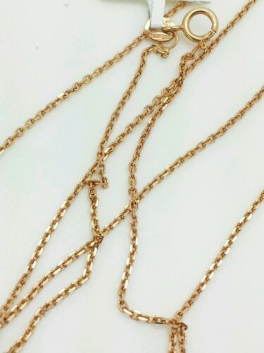 "14k Solid Rose Gold High Polish Cable Link Pendant Necklace Chain 20/"" 1.1mm"