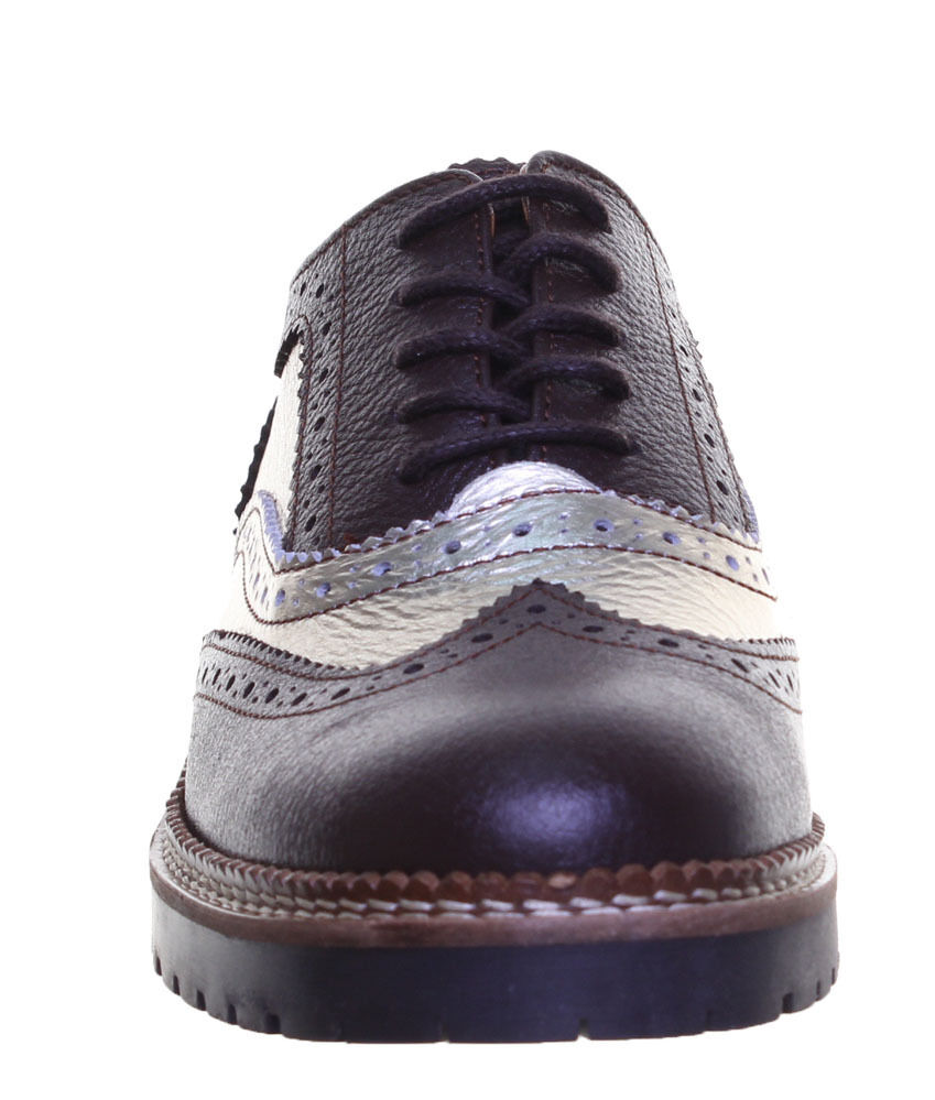 Justin Reece Leather Womens Lace up 100 Leather Reece Brogue Contrast 4483ae