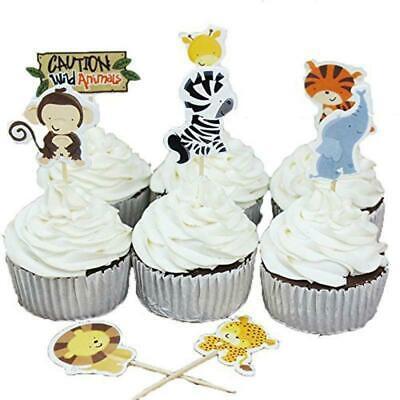 Groovy 24 X Zoo Animals Cake Picks Cupcake Toppers Flags Kids Children Birthday Cards Printable Giouspongecafe Filternl