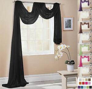 Image Is Loading PLAIN VOILE NET CURTAIN SCARF Various Lengths Amp