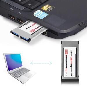 34mm-Express-Card-Karte-2-Port-USB3-0-ExpressCard-34-bis-zu-Konverter-fuer-Laptop