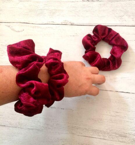 Chouchou cheveux Cravate Pompon Velours Chouchous 2 Tailles régulière Grand Rouge Nouveau