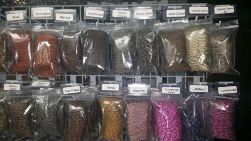 16 Color Lot of Paracord 100 Foot 550 lb 7 Strand for Camping Survival Bracelet
