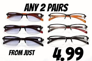 2-PAIRS-Sun-Readers-amp-Reading-Glasses-MIX-N-MATCH-Half-Frame-with-Spring-Hinges