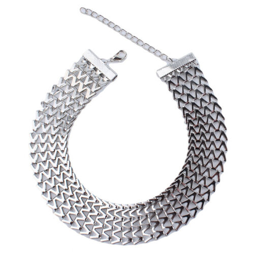 Stylish Wide Women Choker Necklace Gold//Silver Statement Chain Necklaces LH