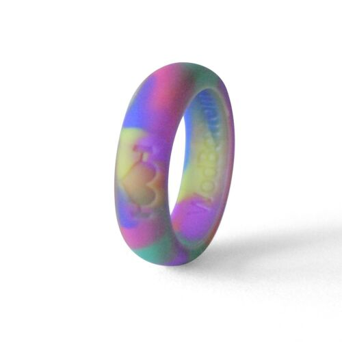Rainbow Silicone Wedding Rings for Women, Bands Perfect for Crossfit, Fitness