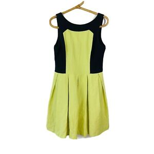 Cue Women's Yellow Black Textured Sleeveless Fit Flare Pleat Bottom Dress 12