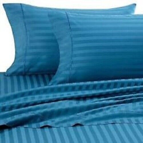 TURQUOISE STRIPE ALL GrößeS SHEET SET CHOOSE Größe 1000 TC 100% EGYPTIAN COTTON