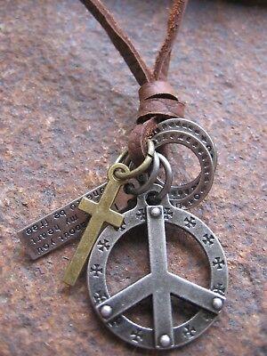 Realistisch Peace Halskette Anhänger Hippie Surfer Style Leder Ring Kreuz Braun Neu Kette Supplement Die Vitalenergie Und NäHren Yin