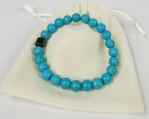 Natural-Turquoise-Howlite-Gemstone-8mm-Beaded-Bracelet-with-Magnetic-Hematite