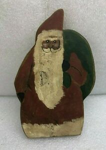 Vintage-Primitive-Antique-Santa-Claus-w-Sack-Painted-on-Wood-Plank-Board-10-034