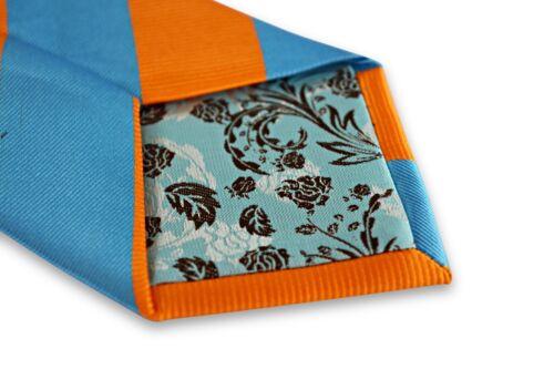 Frederick thomas bleu clair et orange barber à rayures pour homme tie FT3267