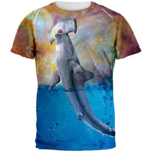Hammerhead Space Shark Breaching All Over Adult T-Shirt