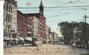 Antique-POSTCARD-c1906-Front-Street-from-Main-St-WORCESTER-MA-13499