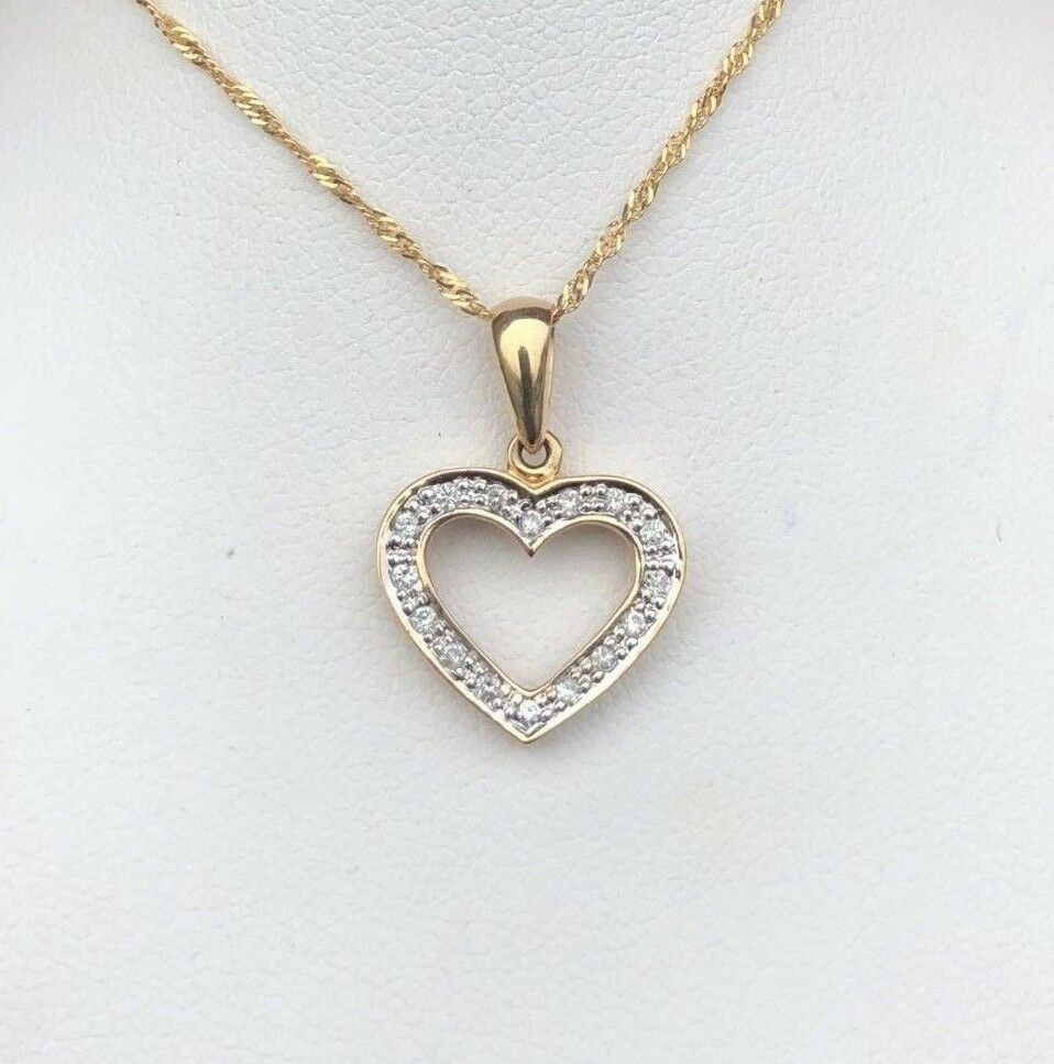 14K gold .16CT DIAMOND HEART PENDANT