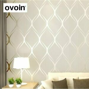 Details about Modern Wallpaper For Bedroom Walls Luxury Covering Living  Room Beige White Grey