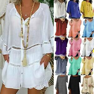 Plus-Size-Ladies-Tunic-Blouse-Kaftan-Tops-Travel-Summer-Casual-Loose-Baggy-Shirt