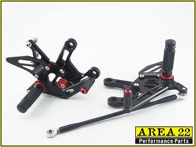 2011-2014 Kawasaki Ninja ZX-10R Area 22 Adjustable Rear Sets Black Rearset ZX10R