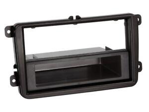 1-DIN-Radio-Faceplate-with-Storage-Shelf-Seat-Skoda-VW-Black