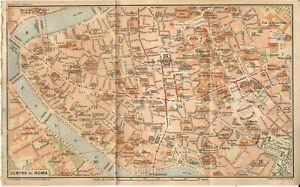 Roma Centro Cartina.Roma Centro Mappa Della Citta Del Touring Club Italiano 1925 Carta Geografica Ebay
